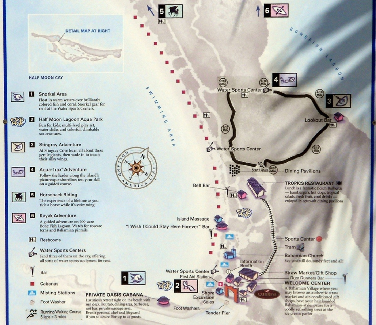 Detailed Half Moon Cay Map