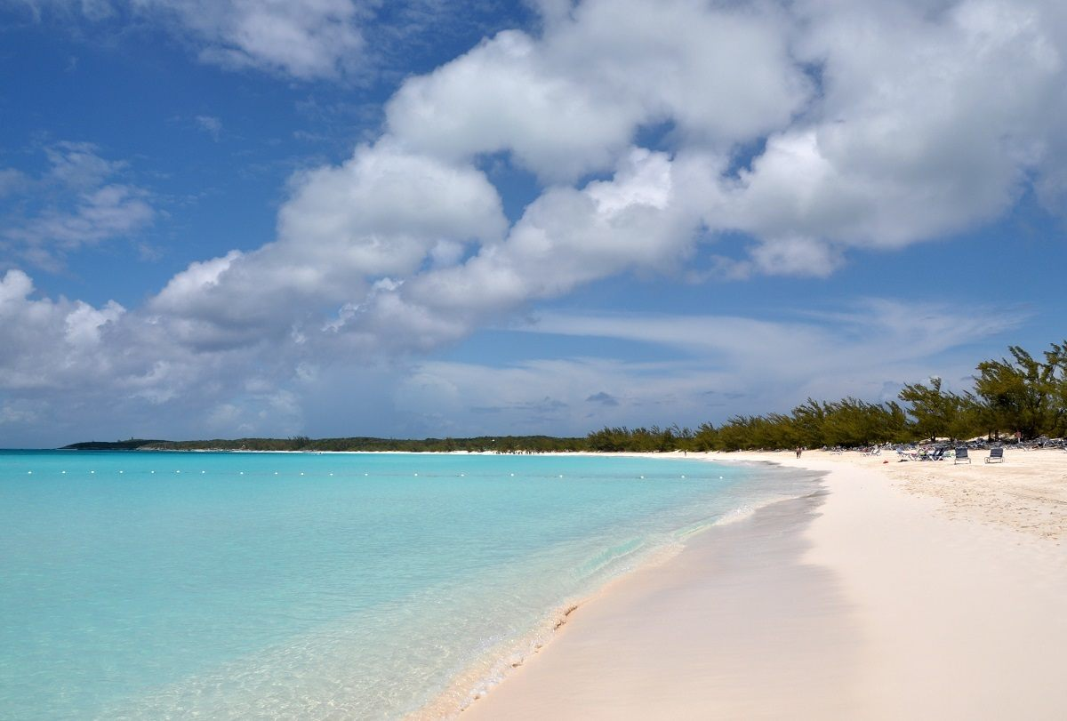 The white sand and blue water on the beach