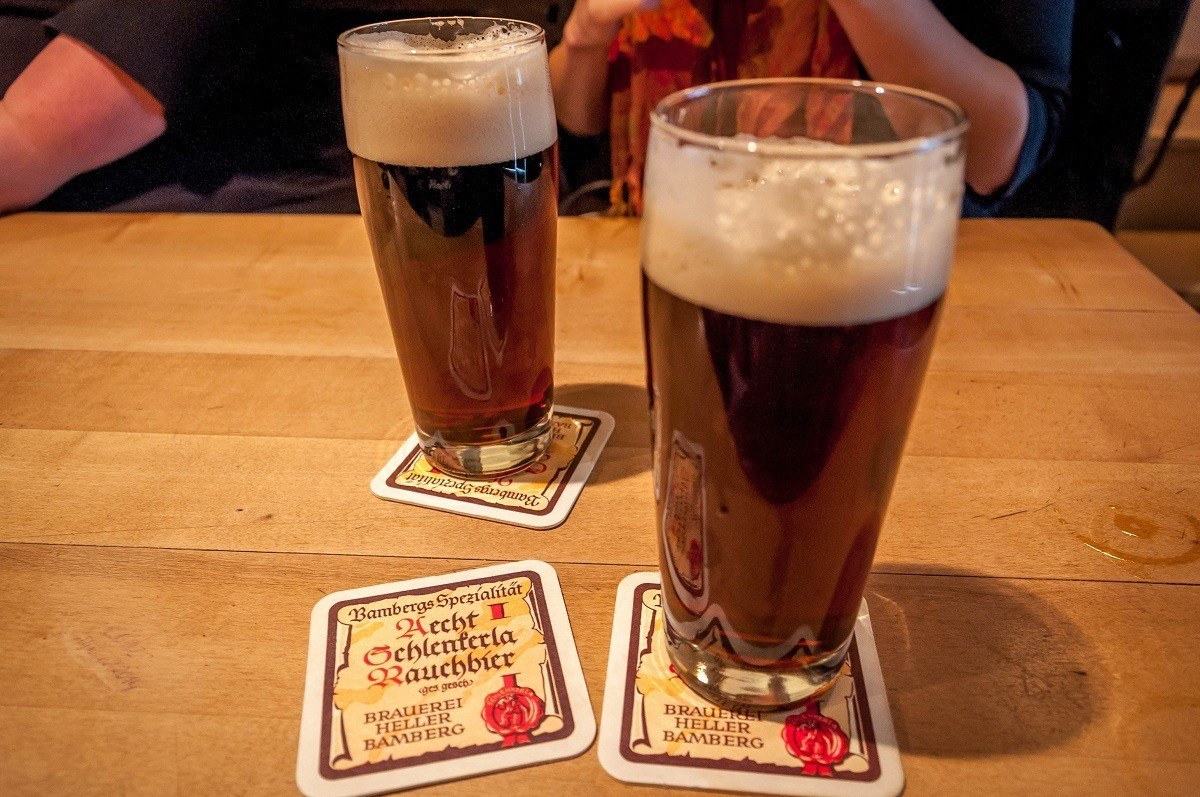 Glasses on a table of the world famous smoked beer or Rauchbier in Bamberg