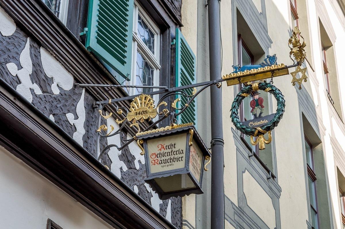 The sign for the Schlenkerla bar, home of the Rauchbier