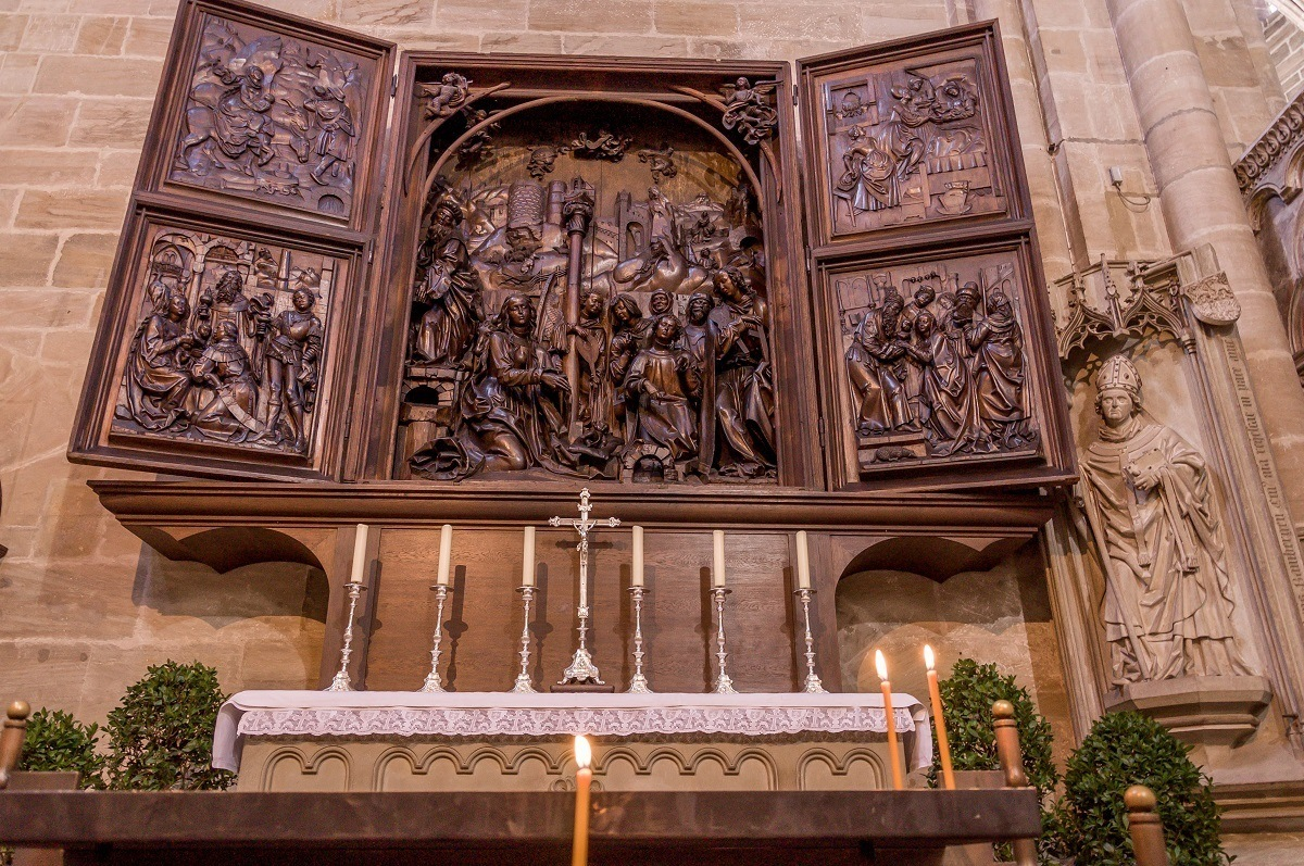 A carved wooden altar inside the Bamberg Cathedral