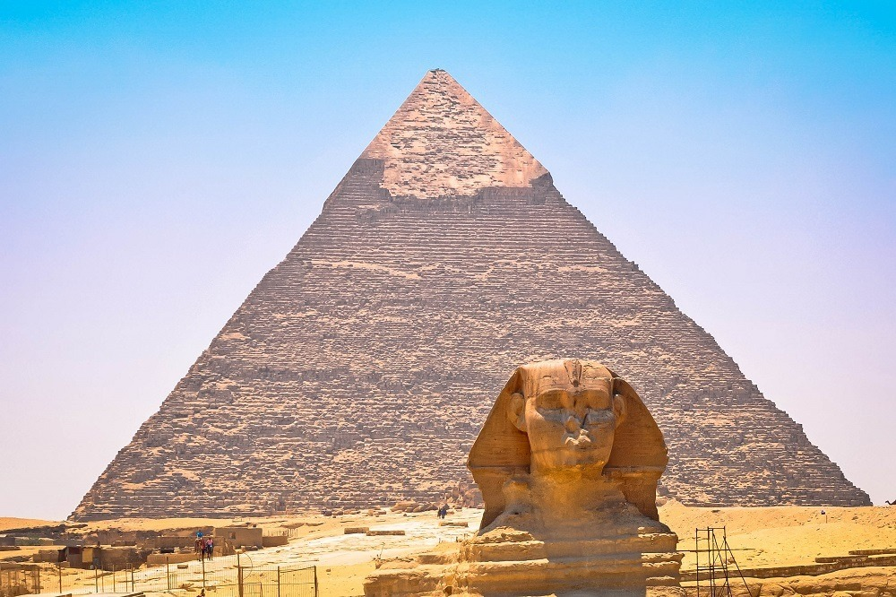 The Great Sphinx of Giza along with the Great Pyramid of Giza