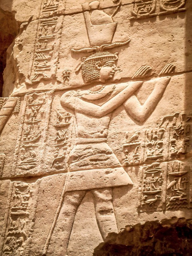 Relief of a pharaoh at Philae temple