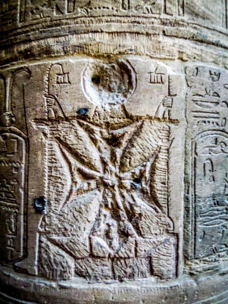 Christian cross carved over Egyptian cartouche
