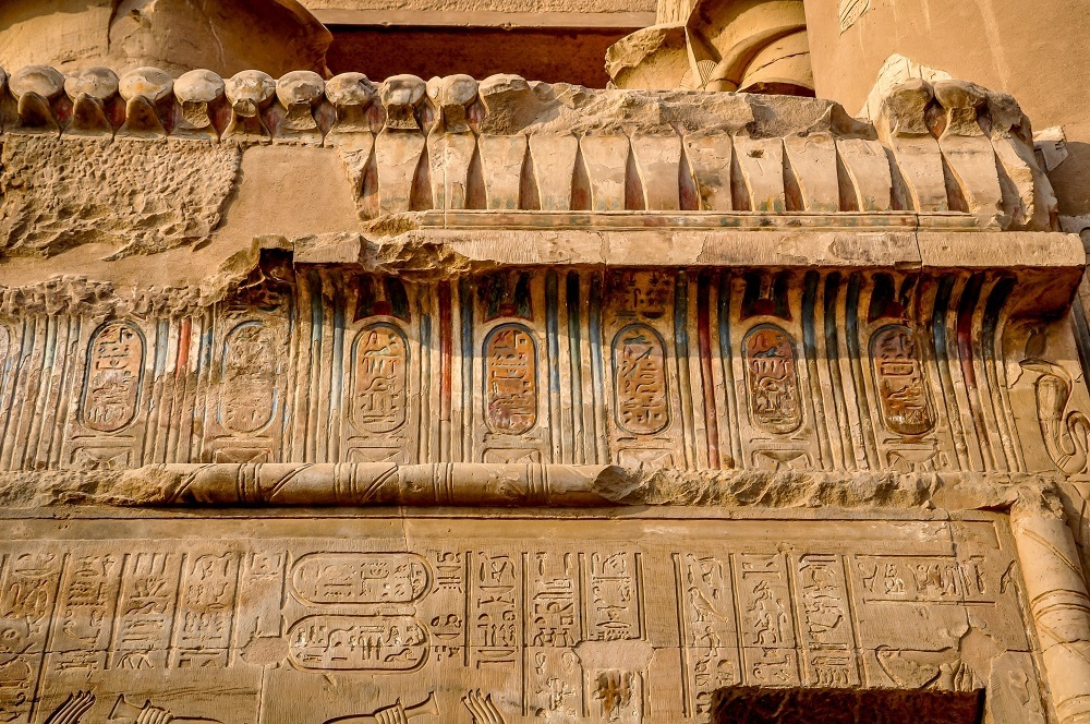 Colored carvings at Kom Ombo temple