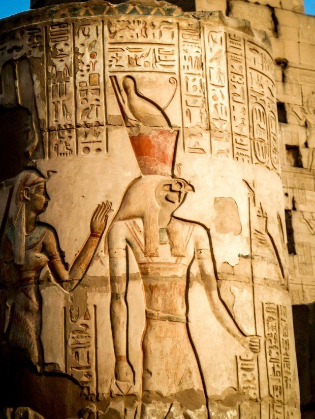 Carved Pharaoh relief