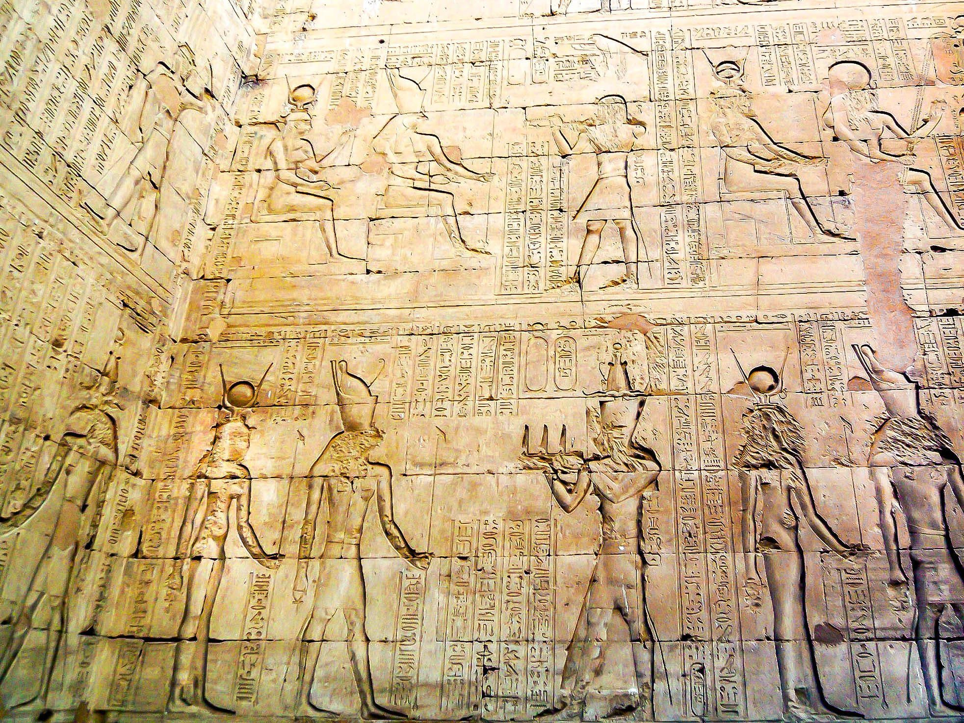 Carvings and reliefs in the Edfu Temple