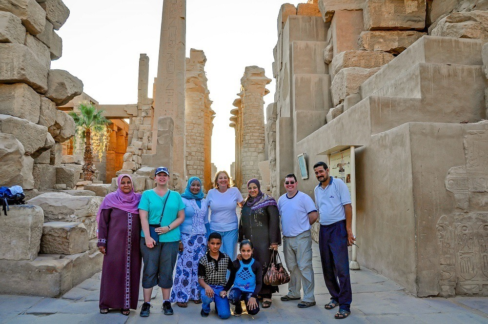 Meeting local people at the Temple of Karnak