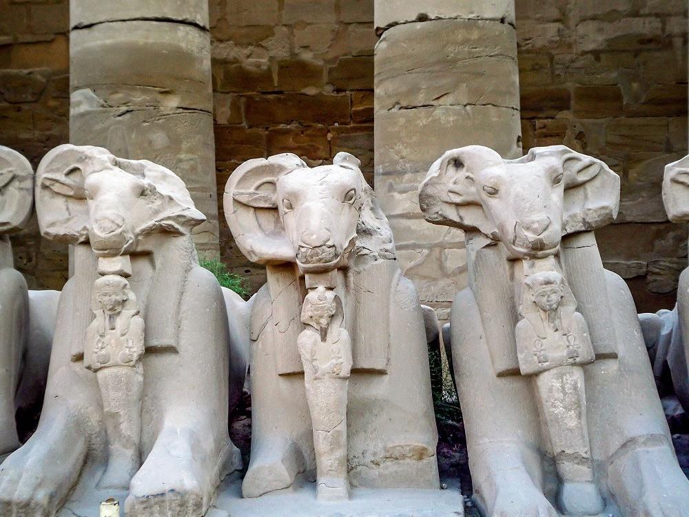 Goat Sphinx statues at Karnak Temple Egypt