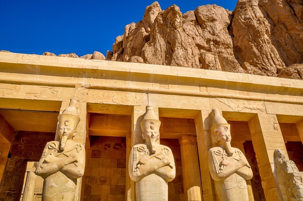 Carvings of the pharaoh at the Queen Hatshepsut temple