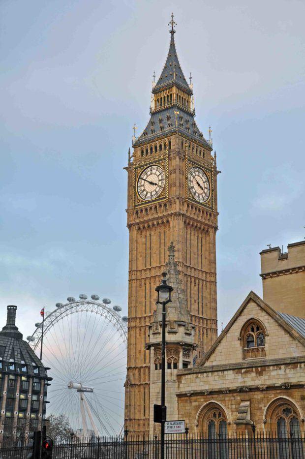 Big Ben clock tower and London Eye Ferris wheel