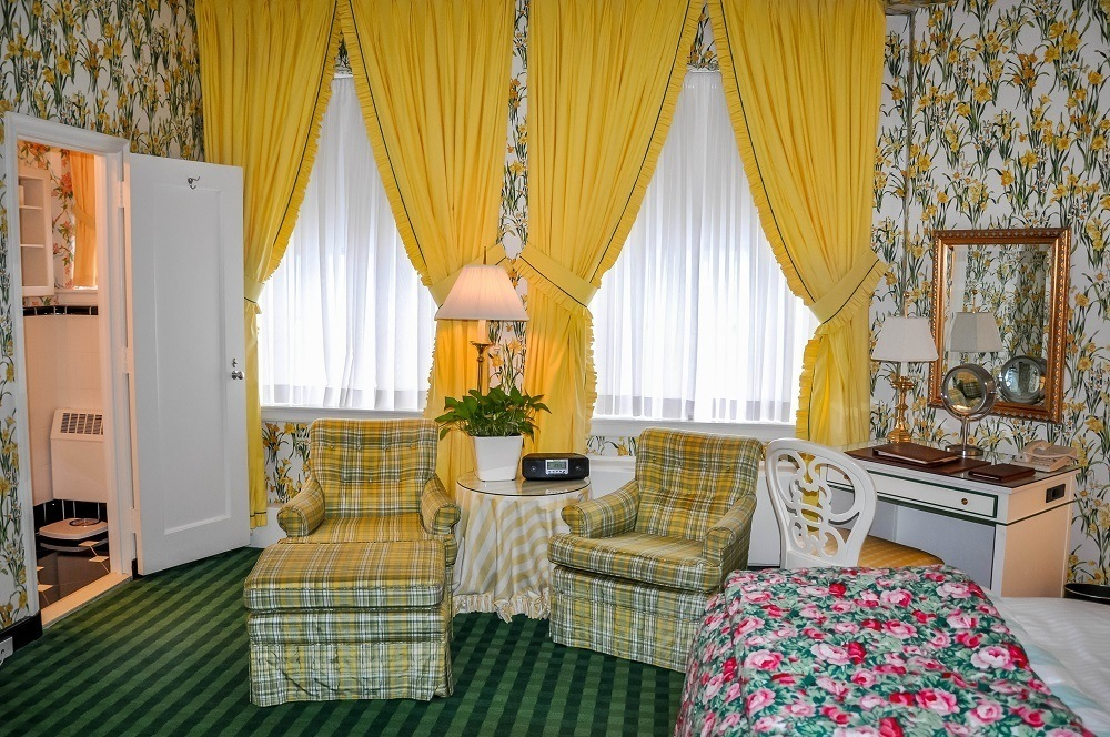 Dorothy Draper-decorated bedroom at the Greenbrier Hotel in West Virginia