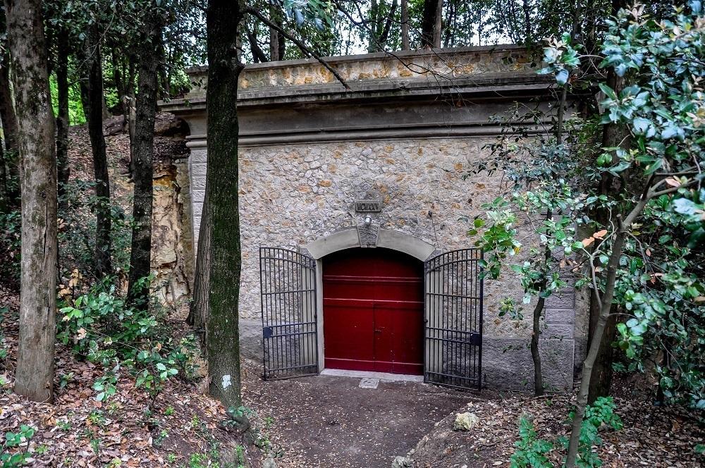 Entrance to the wine cave at Fattoria Il Piano