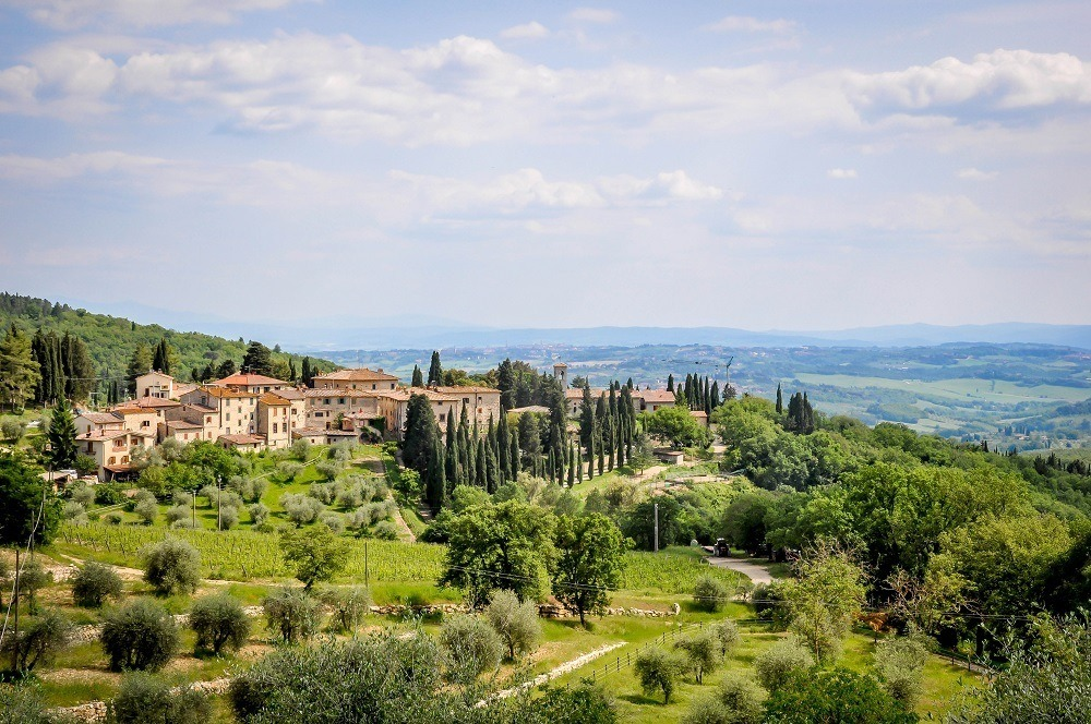View of the village of Fonterutoli in the Tuscan countryside