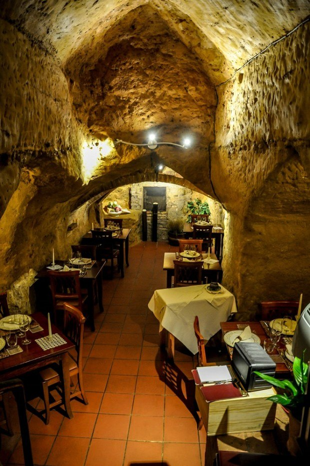Interior of the restaurant located inside the Etruscan tombs