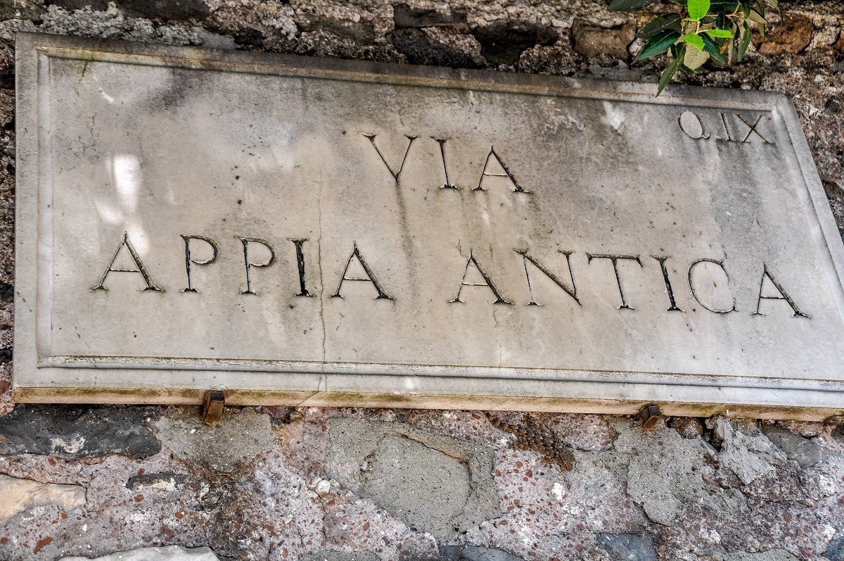 Sign for the Via Appia Antica (The Appian Way)