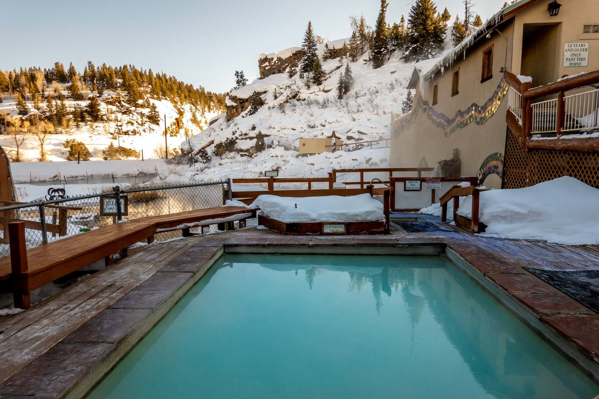 Outdoor pool in the winter with snow
