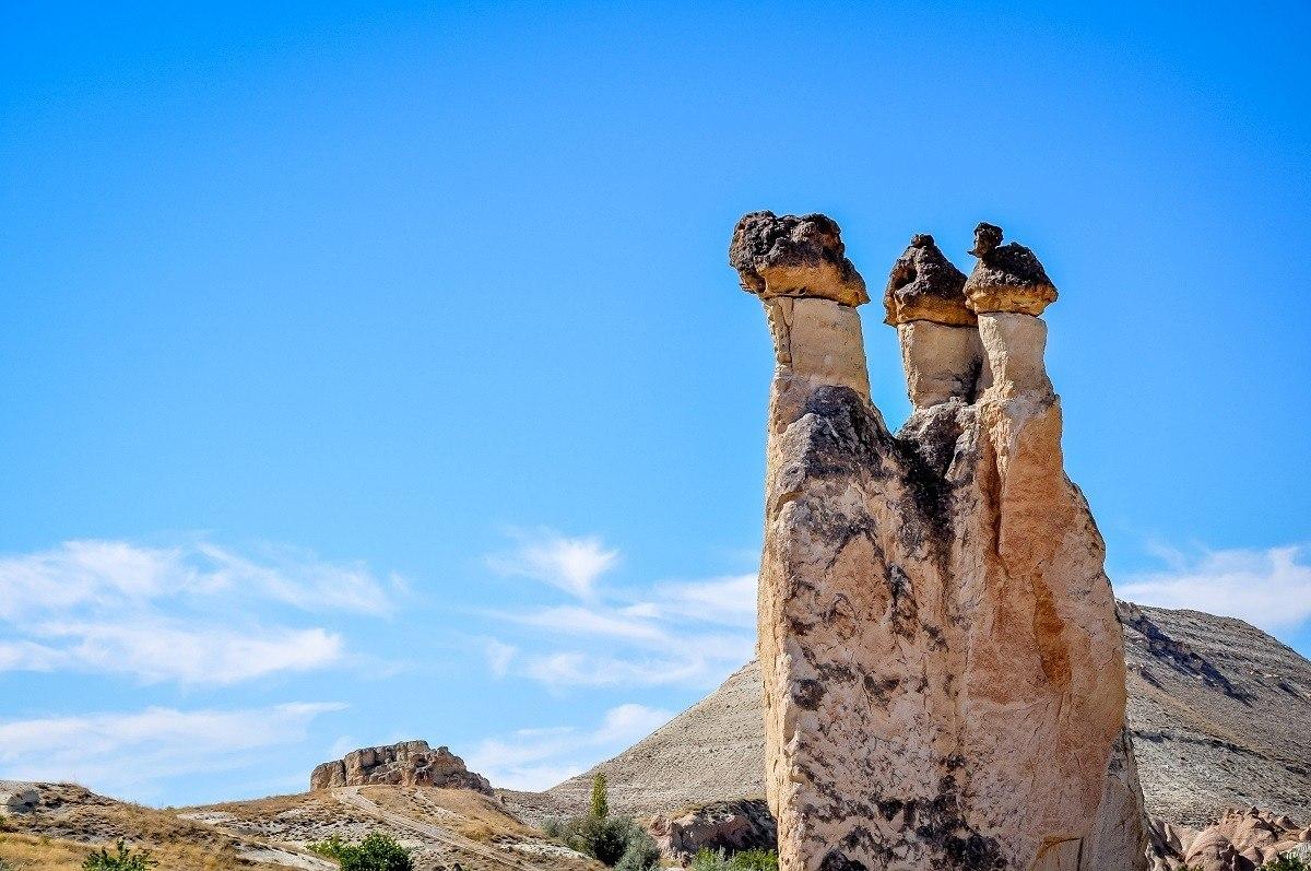 The fairy chimneys or stone pillars at Pasabag in Cappadocia