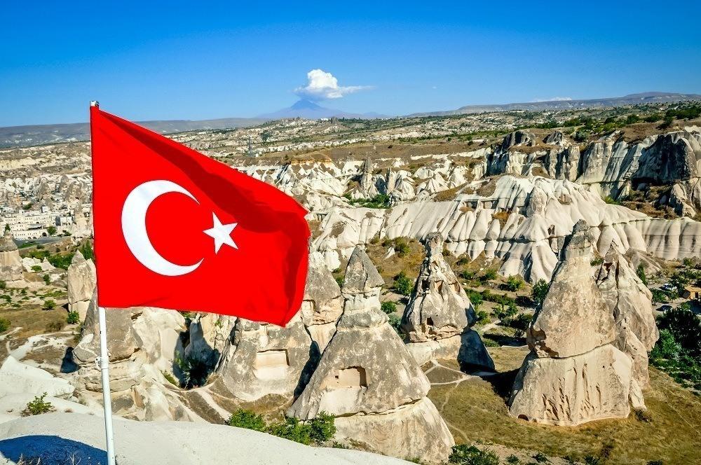Turkish flag with fairy chimneys