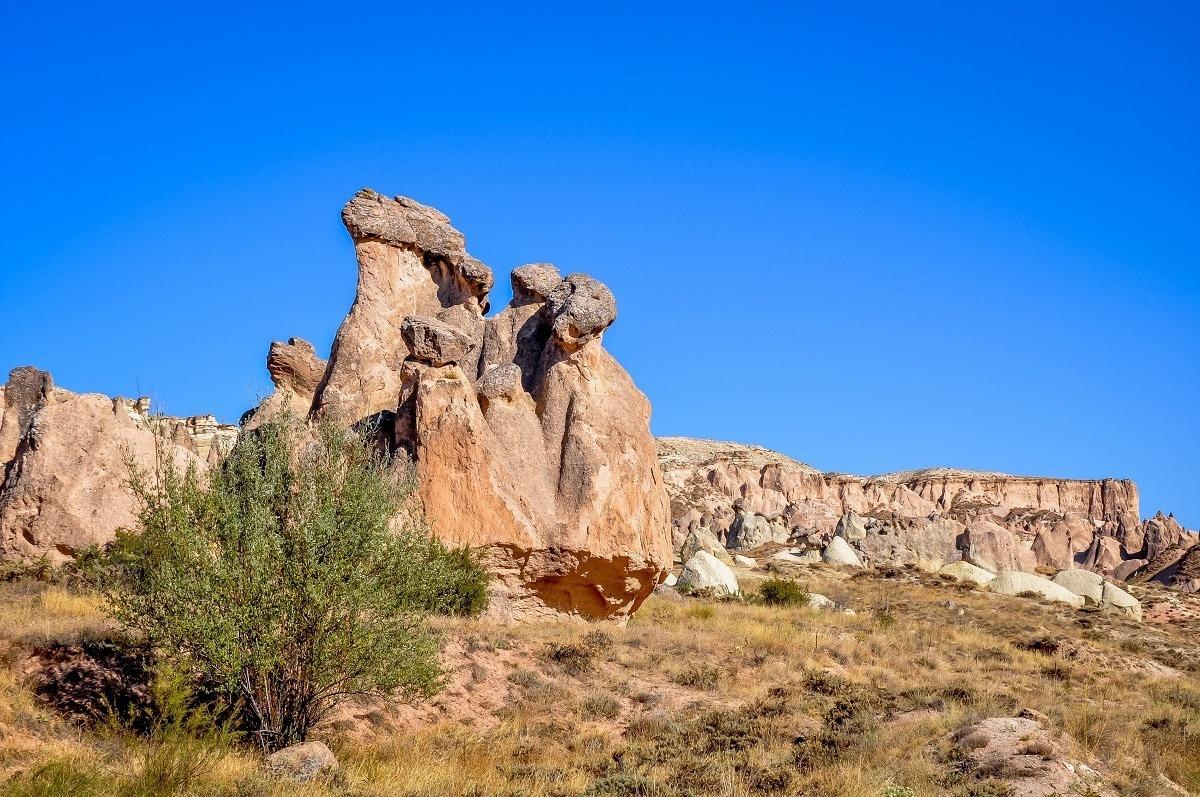 Rock formations, known as fairy chimneys in Cappadocia, Turkey