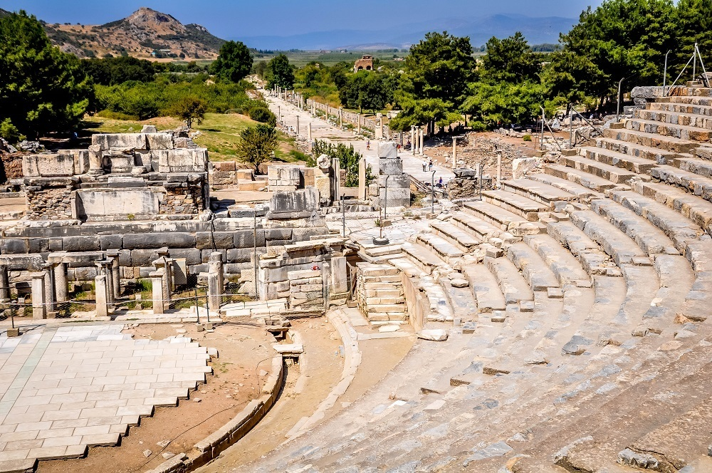 Semi-circular ancient amphitheater at Ephesus