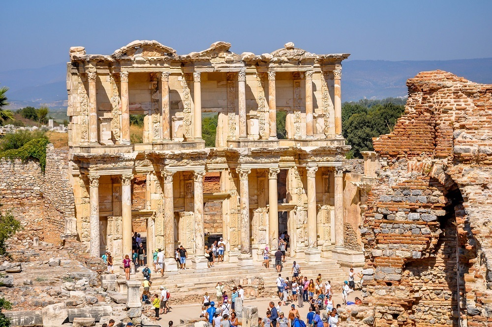 The Library of Celsus at Ephesus, Turkey with tourists