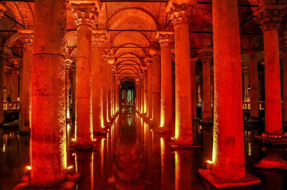 The illuminated columns of the Basilica Cistern in Istanbul