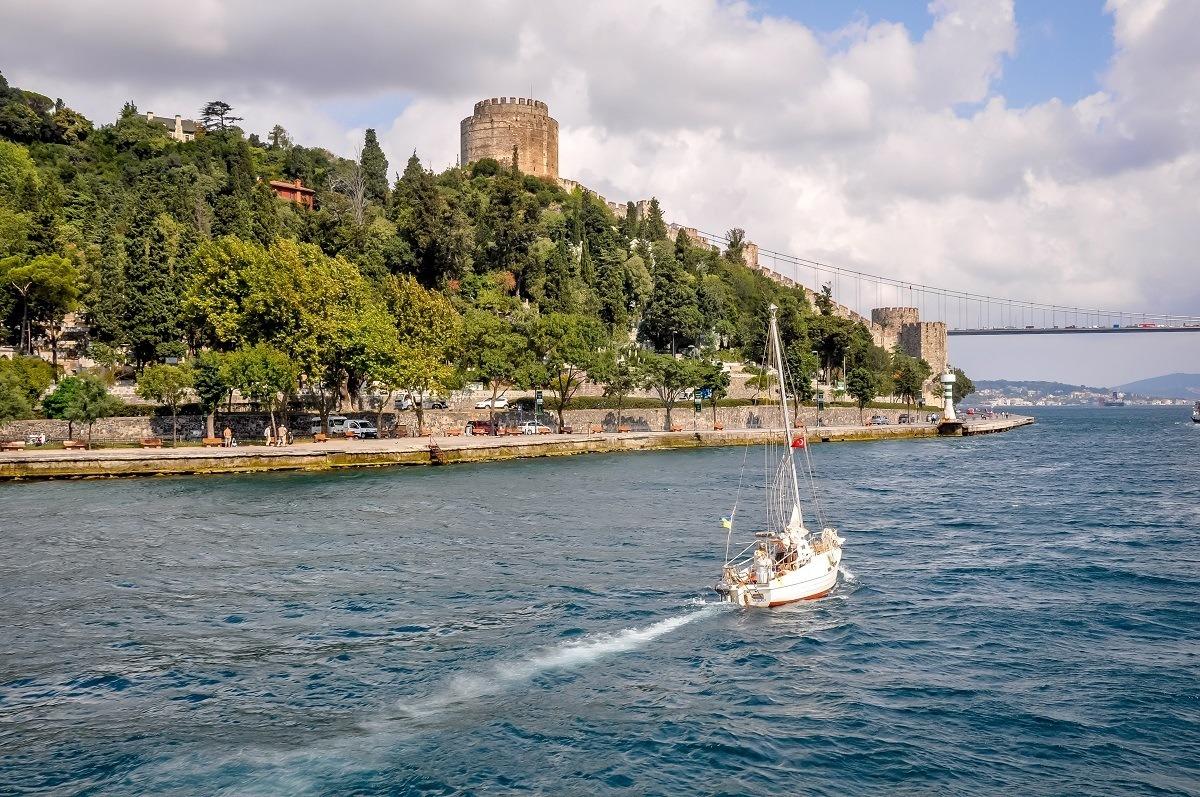 A sailboat on the Bosphorus Strait