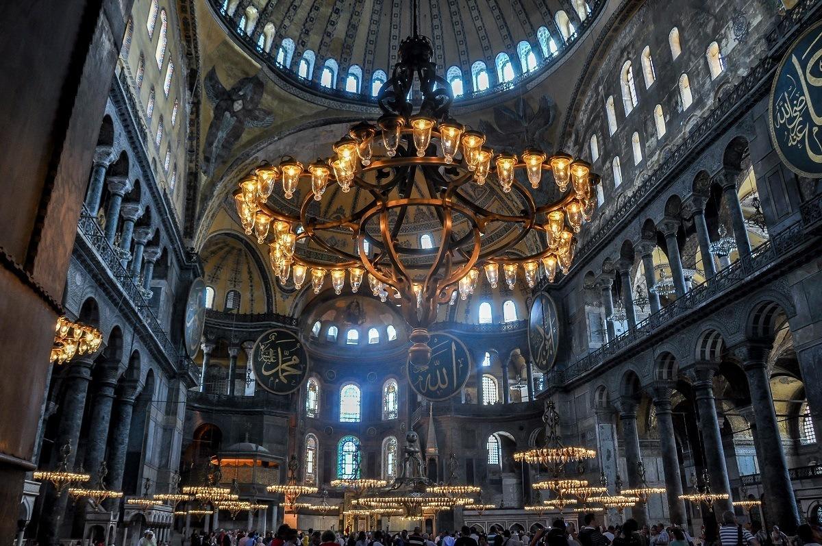 Chandelier in the Hagia Sophia mosque