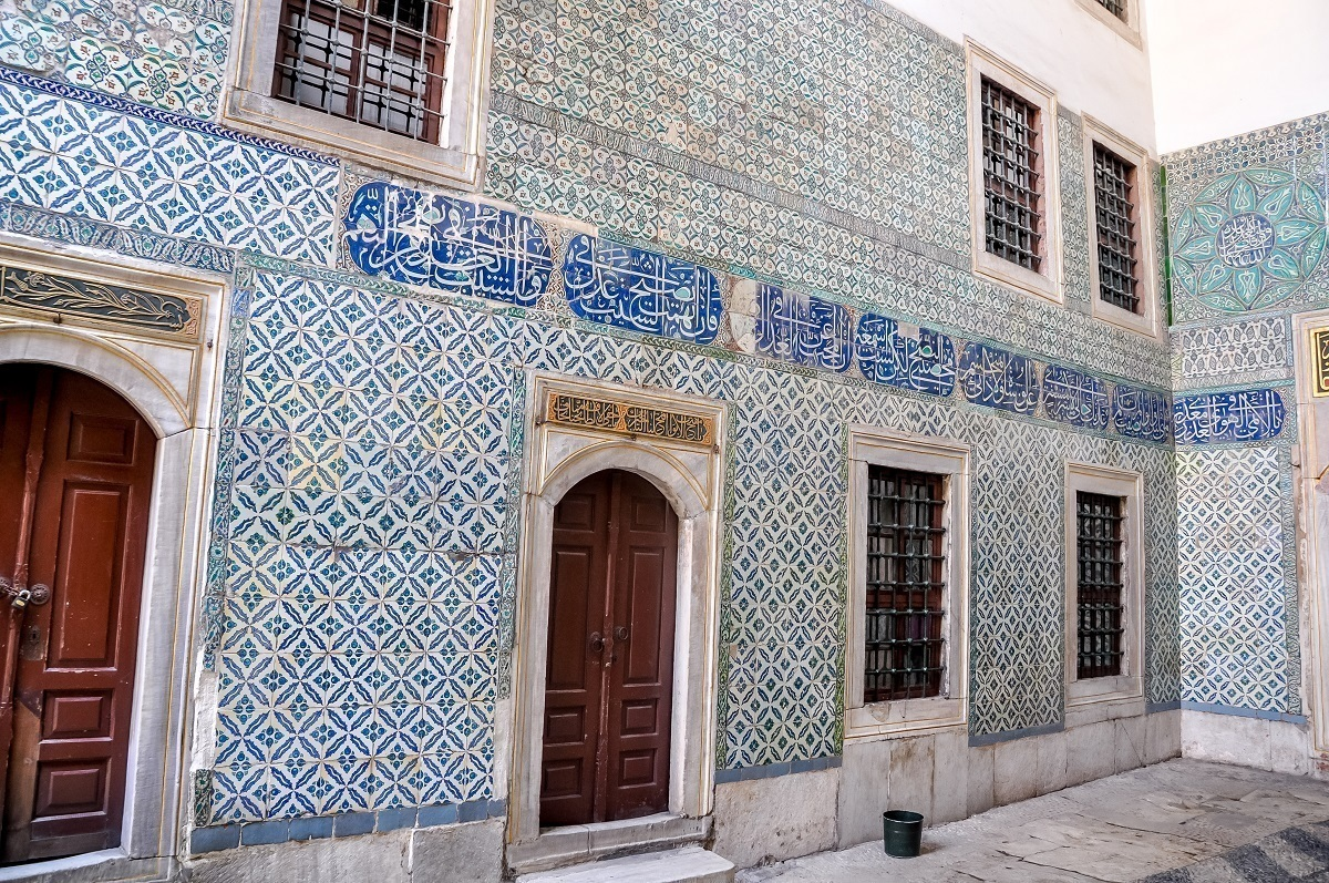 Tile work in the harem courtyard of the Topkapi Palace Museum.
