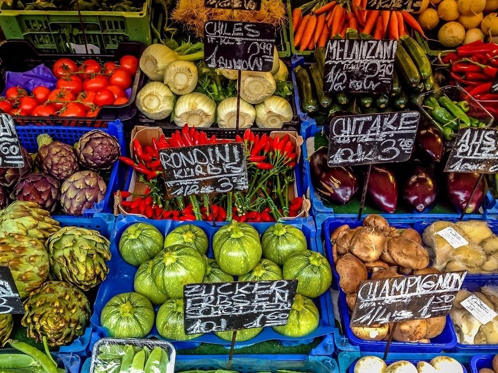 Vegetables on display at Vienna's Naschmarkt