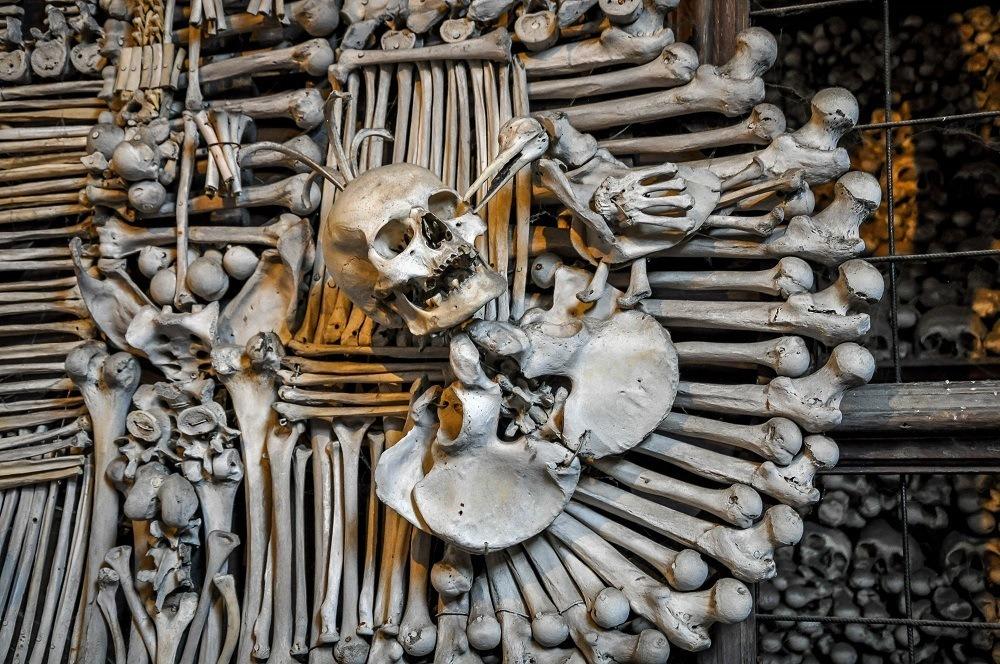 Ornate sculpture at the Kutna Hora Bone Church