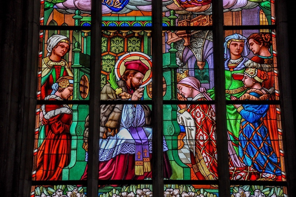 Brilliant stained glass window at St. Barbara