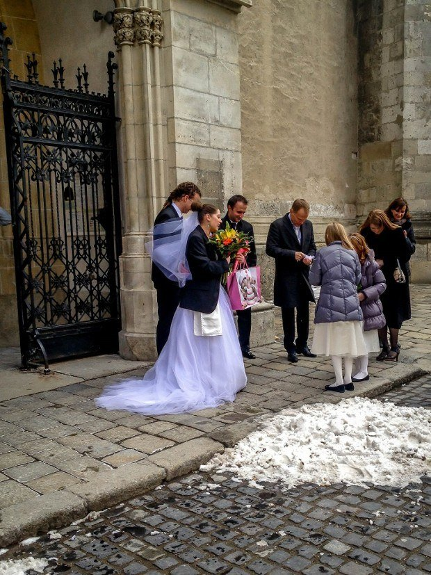Wedding party at St. Martin's Cathedral in Bratislava, Slovakia