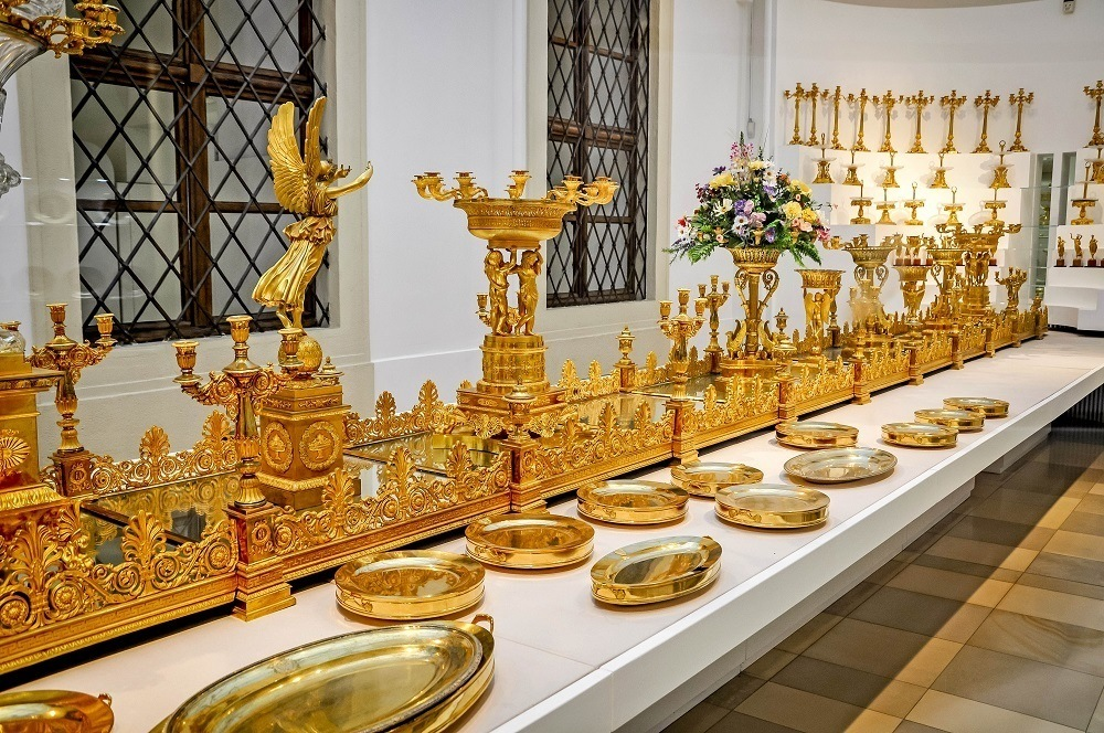 Gold banquet serving pieces at Hofburg Museum in the palace
