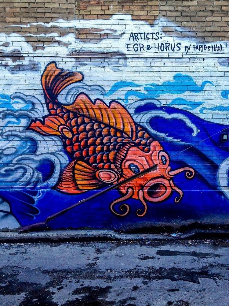 Koi street mural in Chinatown