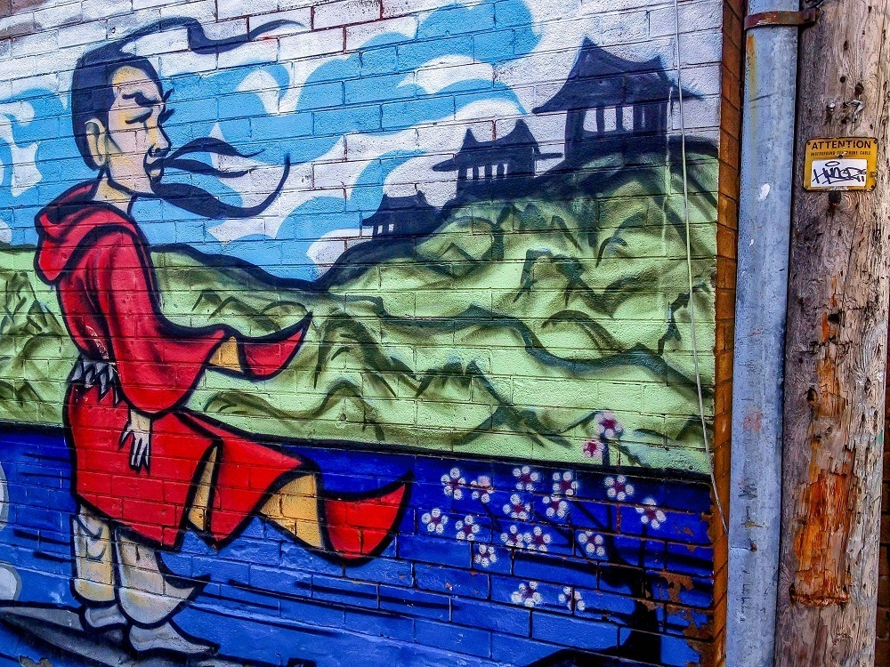 Mural of a warrior in Toronto's Chinatown