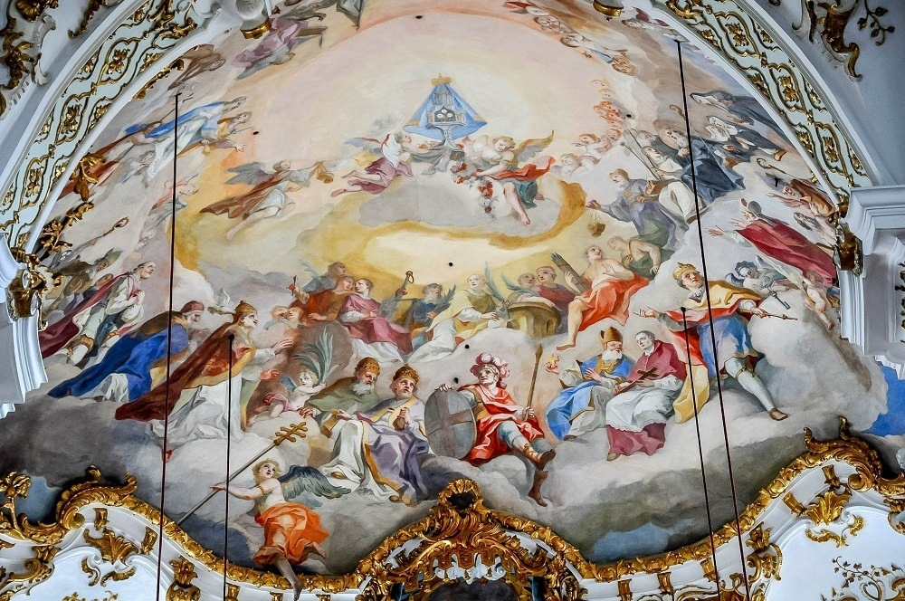 The ornately painted ceiling of the Andechs Monastery