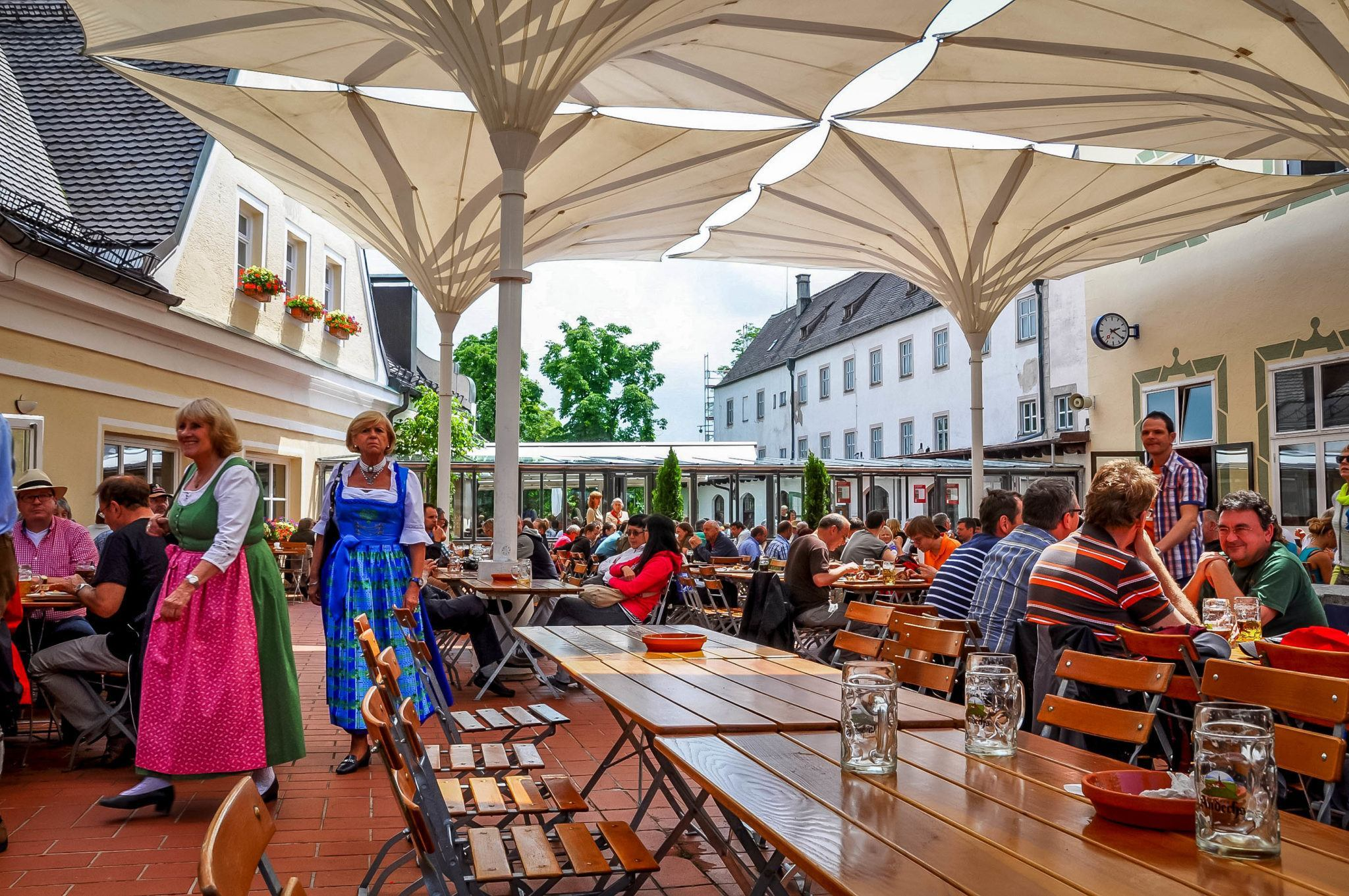Patio for diners and drinkers at the Andechs Brewery