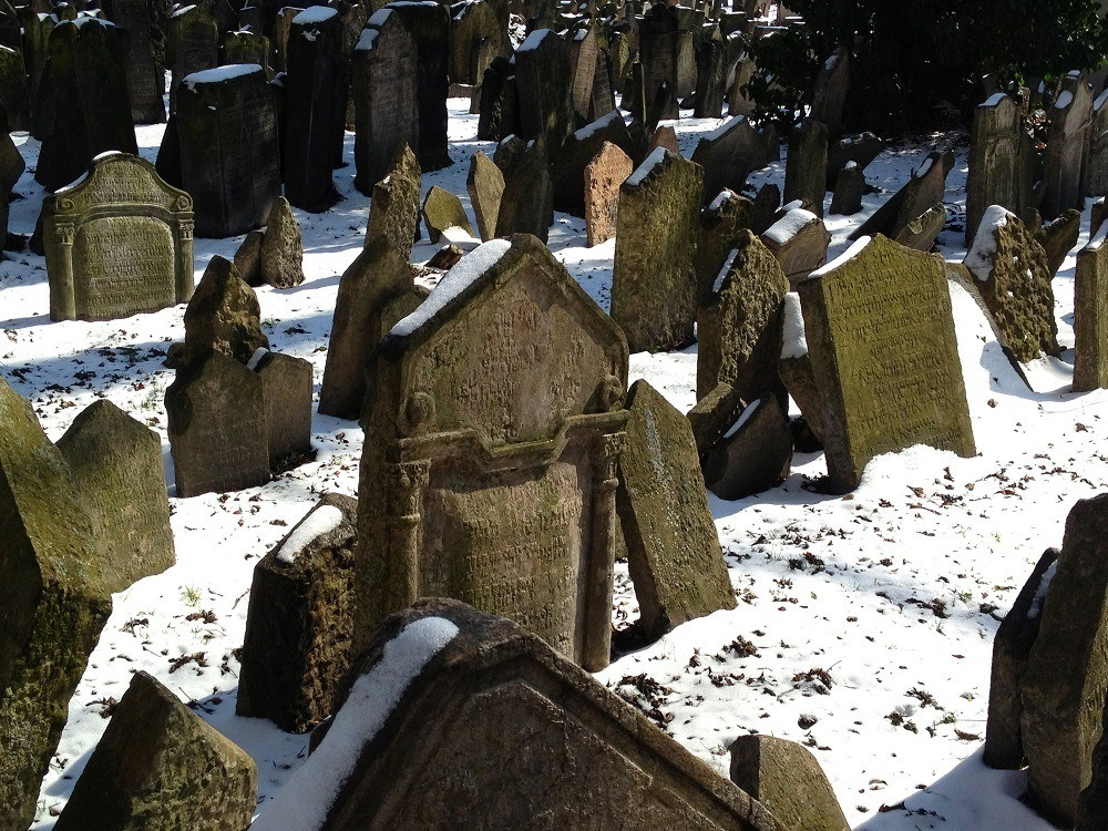 Falling tombstones in the Prague Jewish Quarter Cemetery in the snow