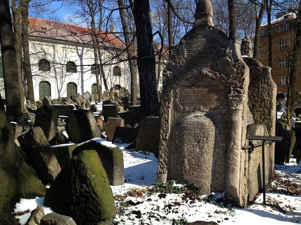The Old Cemetery in the Prague Jewish Quarter in the snow