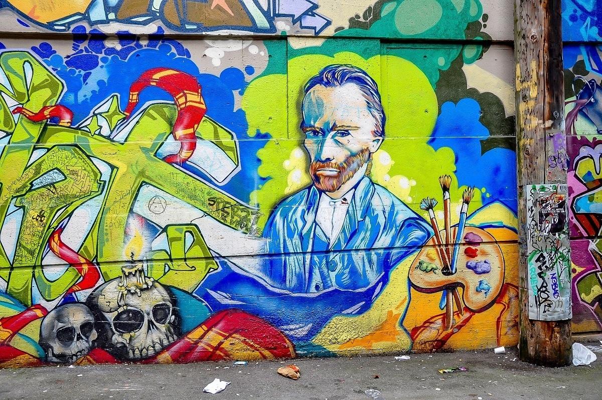 Vancouver street art mural of Vincent van Gogh
