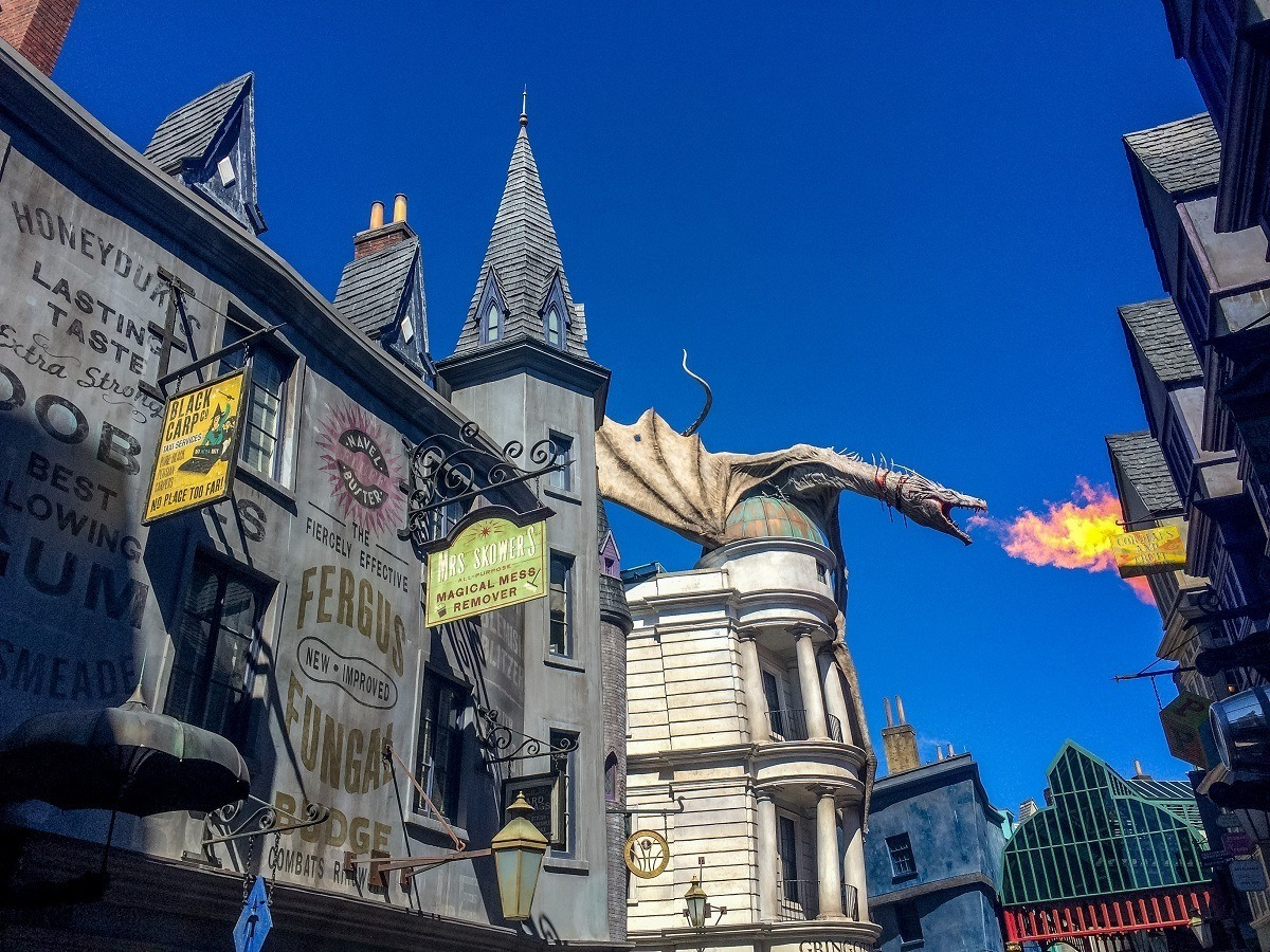 Fire-breathing dragon at a theme park