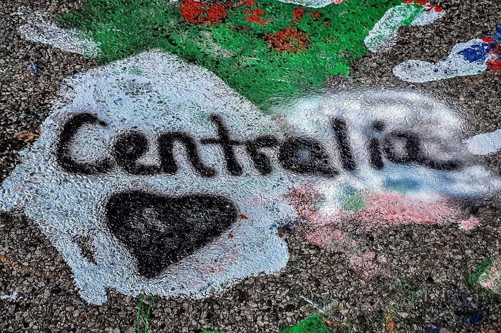 """""""Centralia"""" graffiti on highway 61 in Centralia Pennsylvania"""