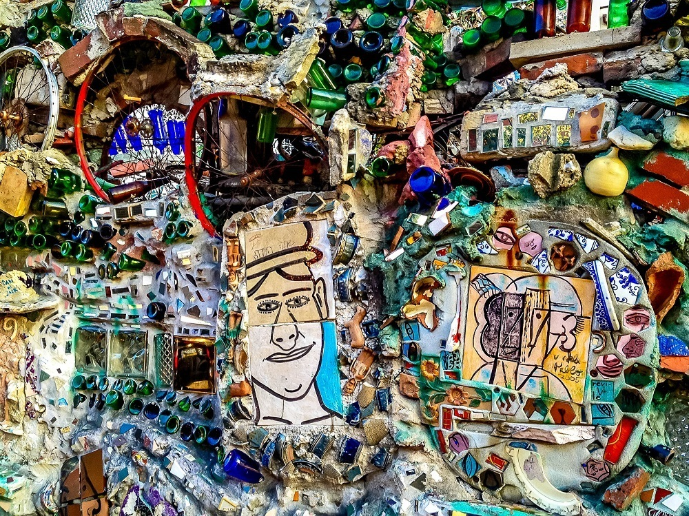 Multi-colored mosaics created with pottery and glass