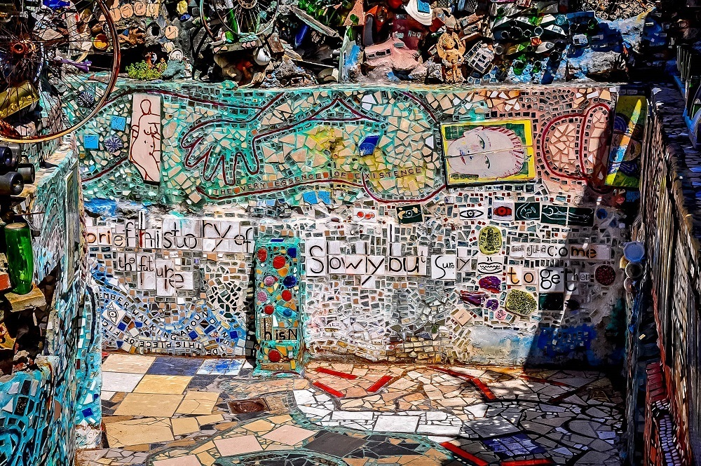Brightly-colored mosaic at the Magic Gardens