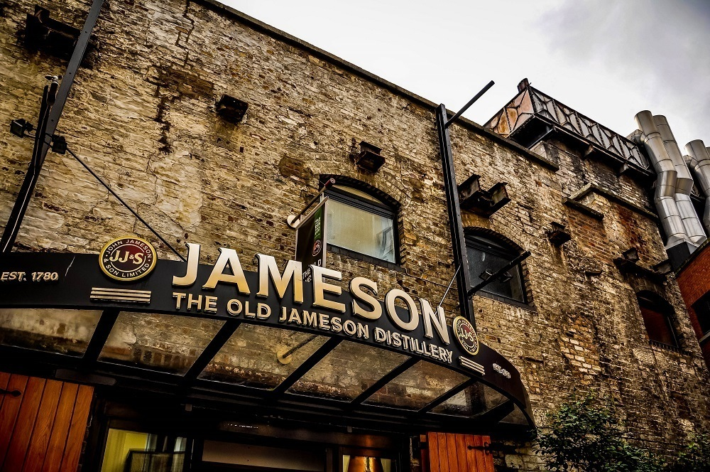 Exterior of the Old Jameson Bow St. Distillery in Ireland