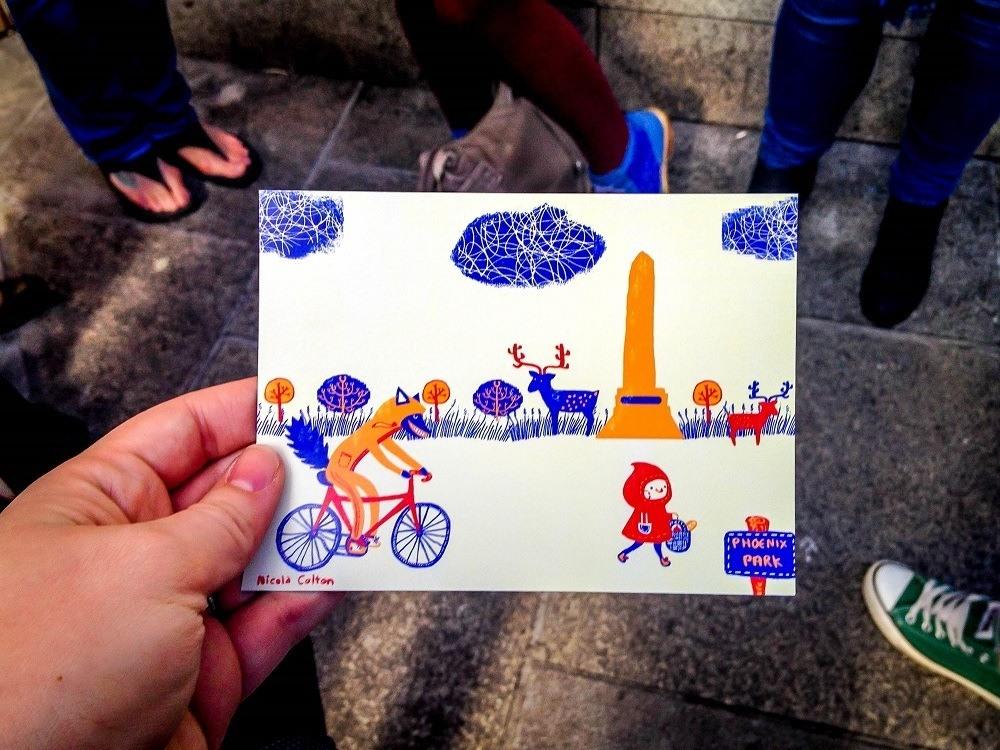 Postcard with cartoon illustration