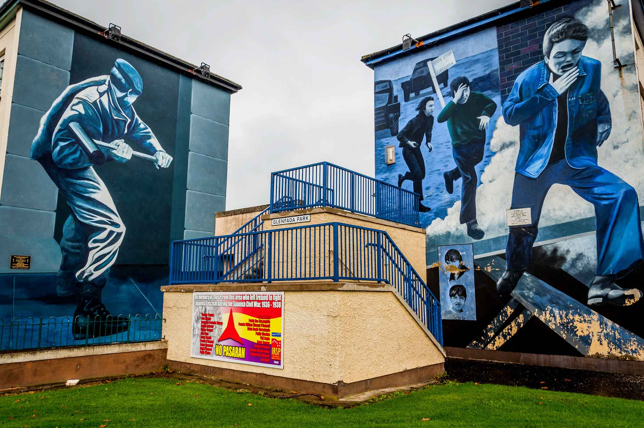 Two of the Bogside Derry murals -- Operation Motorman and The Runner