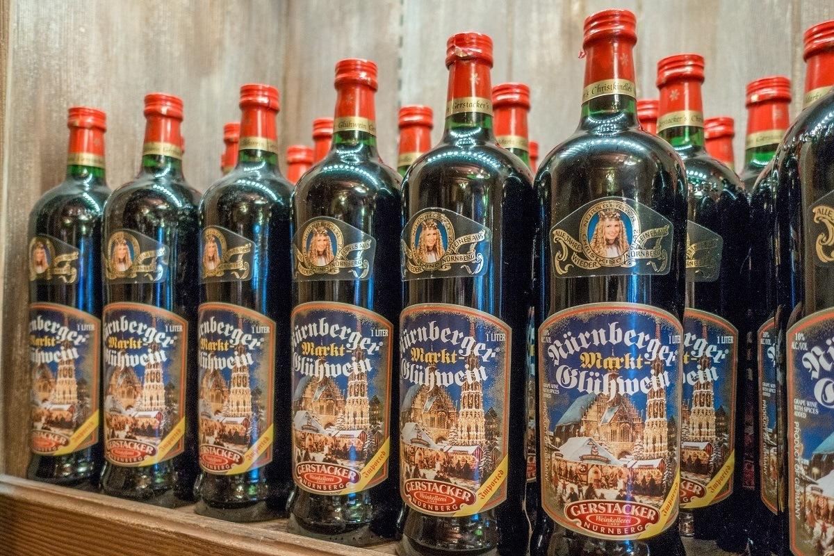 Bottles of gluhwein (German mulled wine) for sale